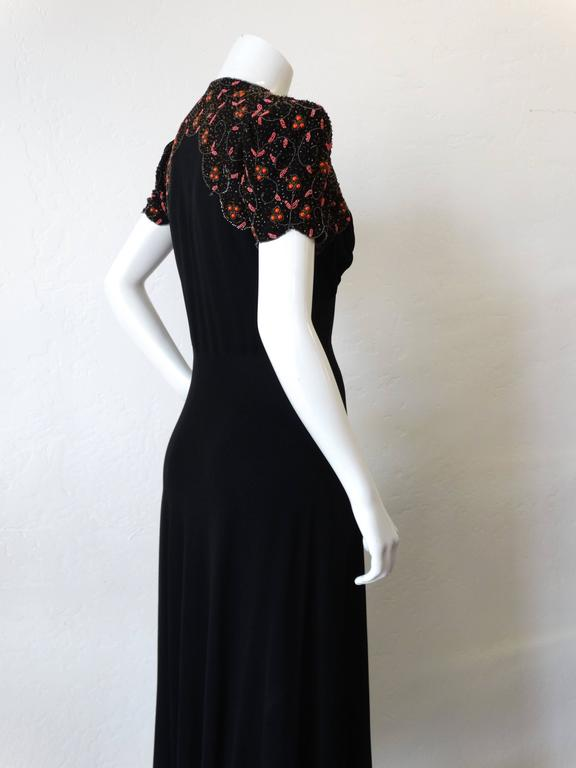 1940s Black Glads Beaded Gown  For Sale 4
