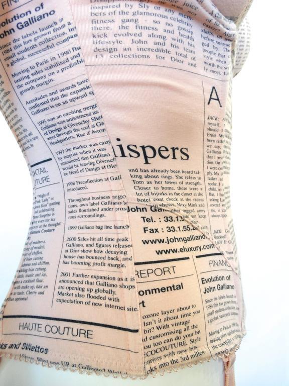 2000s John Galliano Newsprint Corset 5