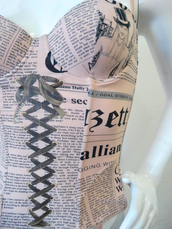 2000s John Galliano Newsprint Corset 3