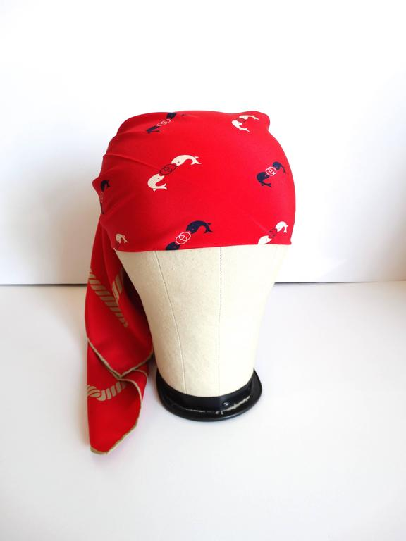 Rare 1970s Gucci Red Silk Novelty Fish Print Scarf  4