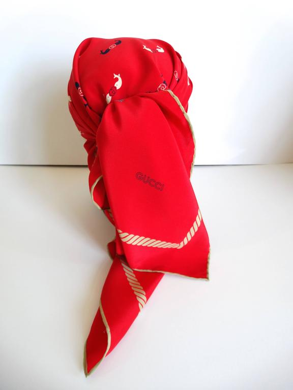 Rare 1970s Gucci Red Silk Novelty Fish Print Scarf  6