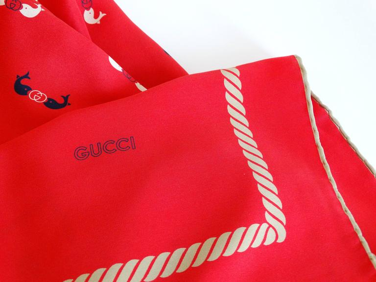 Rare 1970s Gucci Red Silk Novelty Fish Print Scarf  8