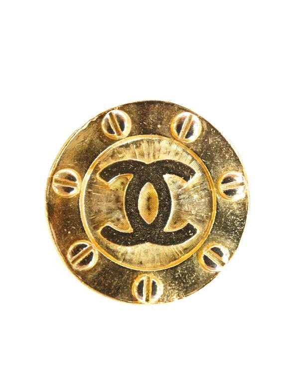 1980s Chanel Gold CC Earrings 2