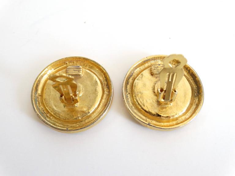 1980s Chanel Gold CC Earrings 5