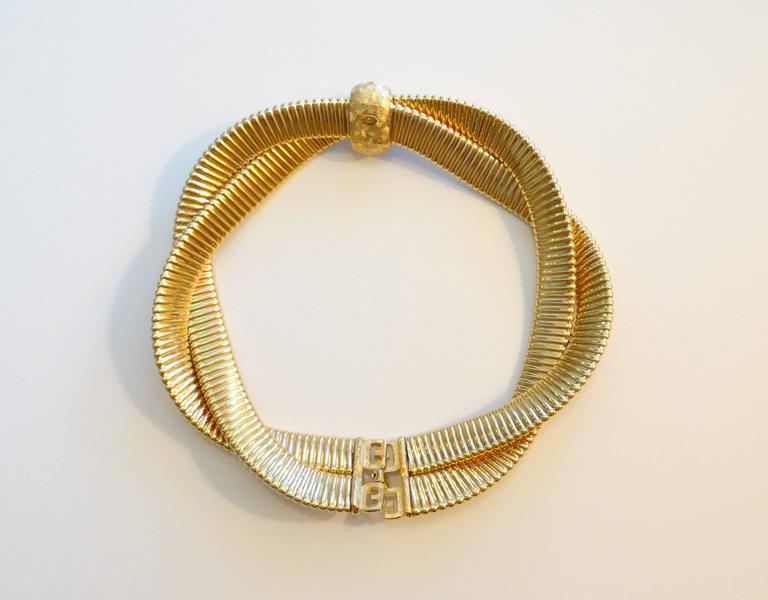 Women's or Men's 1980s Givenchy Twisted Gold Collar Necklace