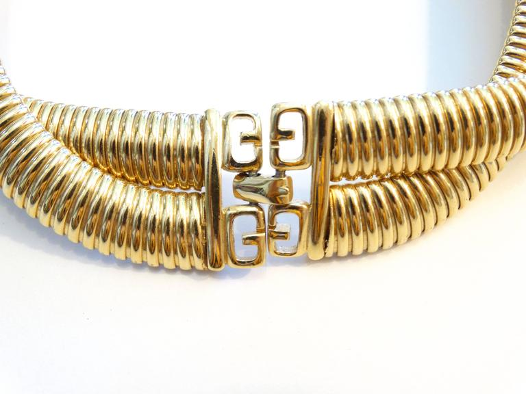 1980s Givenchy Twisted Gold Collar Necklace 1