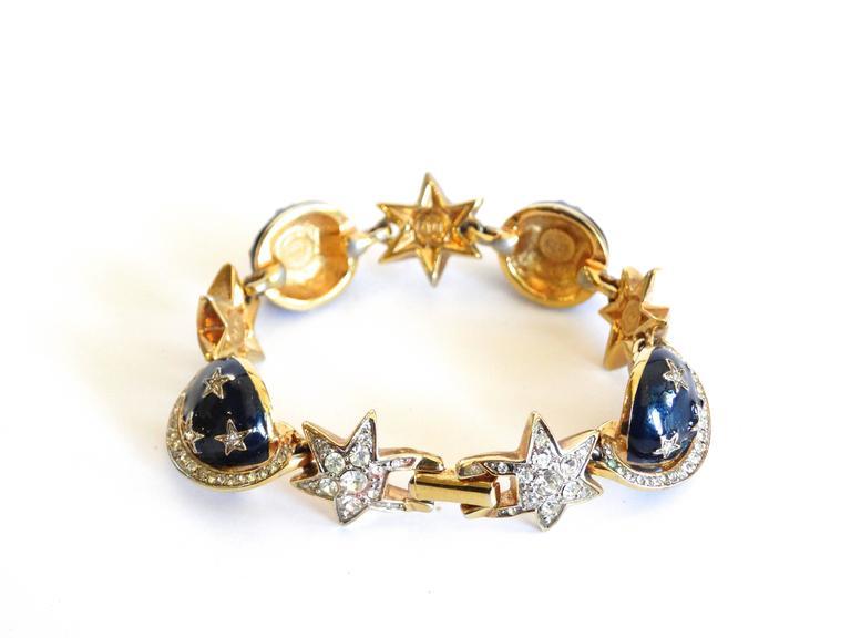 1980s Butler & Wilson Saturn & Star Enamel Bracelet  In Excellent Condition For Sale In Scottsdale, AZ