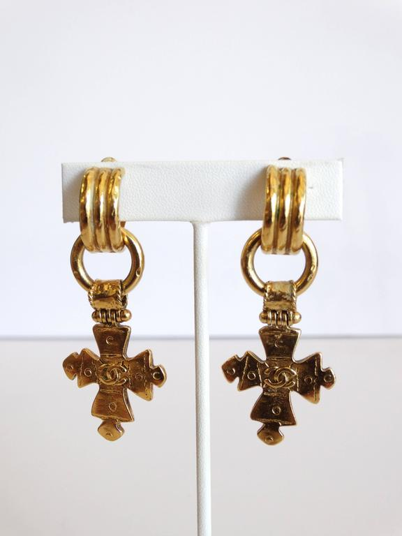 1994 CC Chanel Cross Earrings For Sale 2