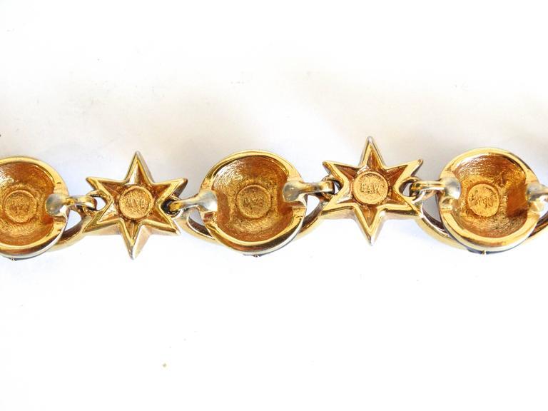 Women's or Men's 1980s Butler & Wilson Saturn & Star Enamel Bracelet  For Sale