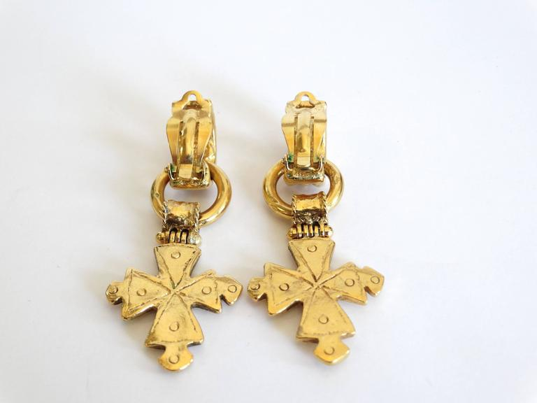 1994 CC Chanel Cross Earrings For Sale 5