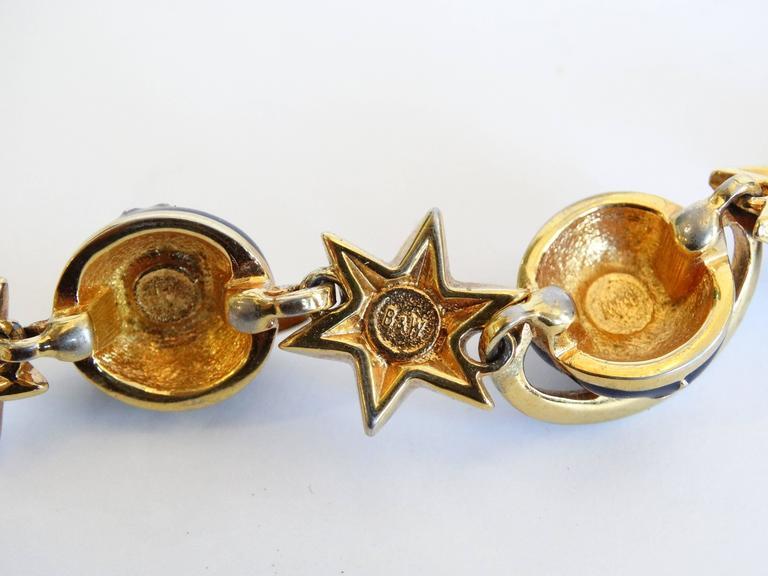 1980s Butler & Wilson Saturn & Star Enamel Bracelet  For Sale 1