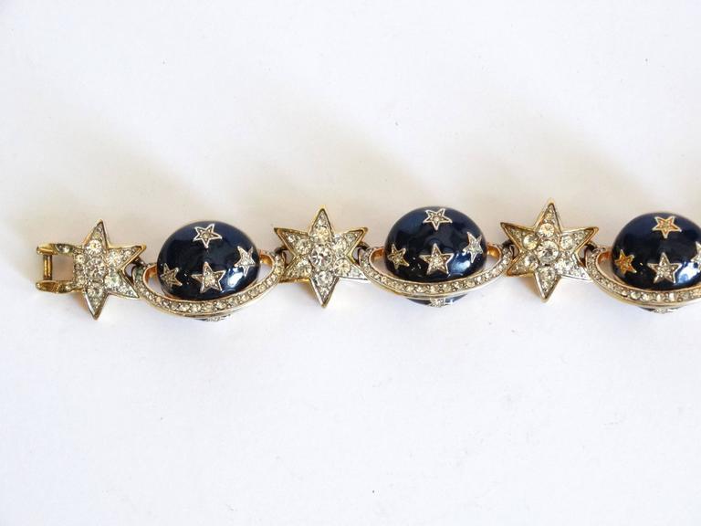 1980s Butler & Wilson Saturn & Star Enamel Bracelet  For Sale 2