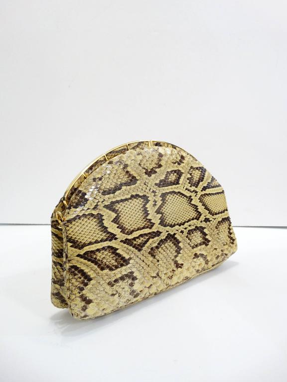 Women's Judith Leiber Python Snakeskin Evening Bag For Sale