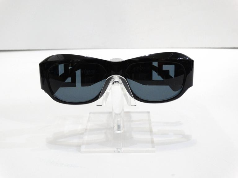 f055059f4111 1990s Gianni Versace Greek Key Logo Sunglasses For Sale at 1stdibs