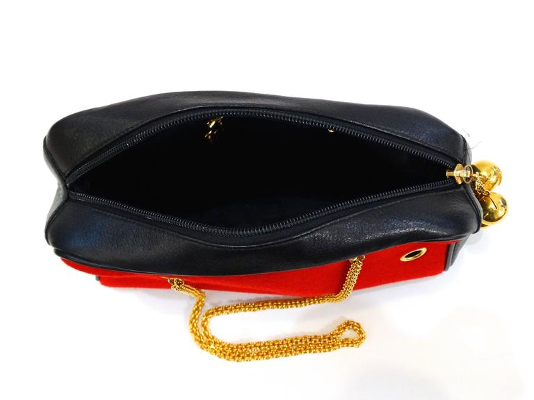 1980s Moschino Red Grommet Bag For Sale 5