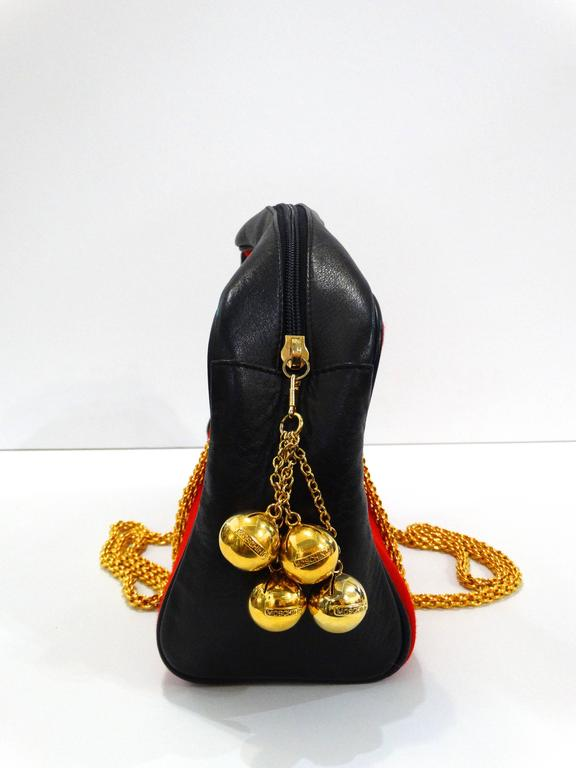 1980s Moschino Red Grommet Bag For Sale 3