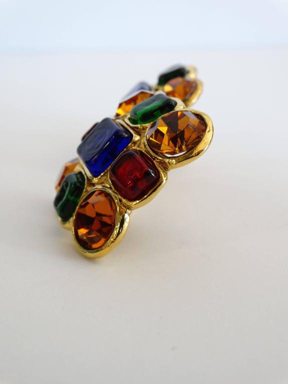 Women's 1980s Chanel Mulit Colored Gripoix Clip Earrings  For Sale