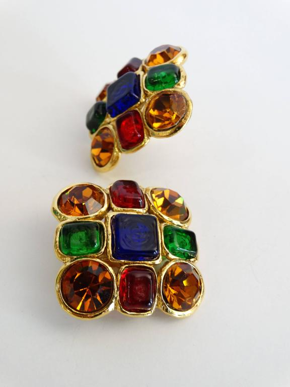 1980s Chanel Mulit Colored Gripoix Clip Earrings  For Sale 1