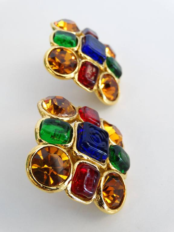 1980s Chanel Mulit Colored Gripoix Clip Earrings  For Sale 2
