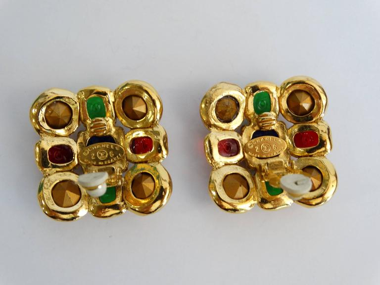 1980s Chanel Mulit Colored Gripoix Clip Earrings  For Sale 3