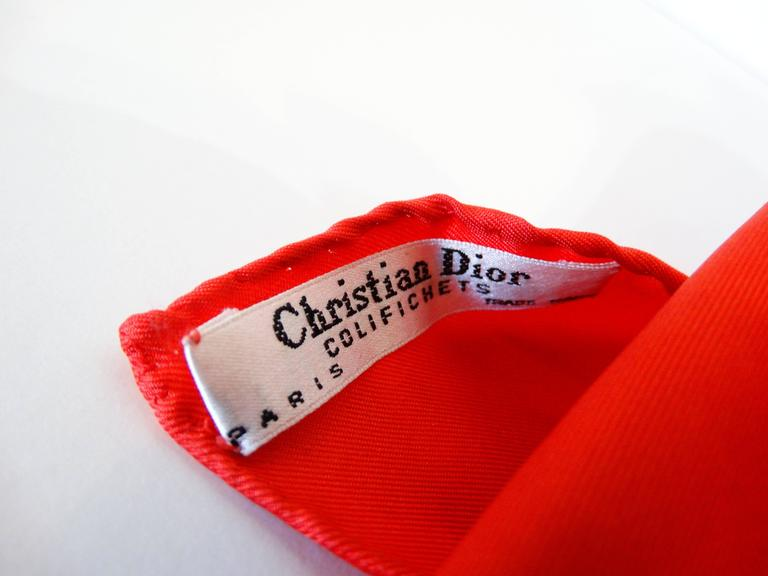 1980s Christian Dior Logo Red Monogram Print Scarf For Sale 2