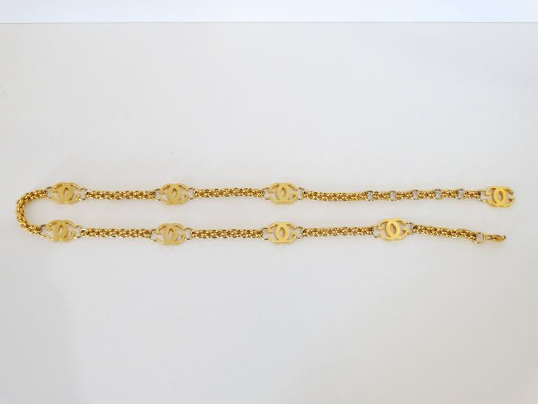 Beige 1985 Gucci GG Link Belt  For Sale