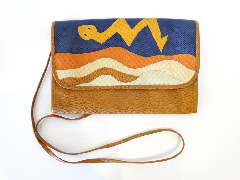 1980s CARLOS FALCHI Leather Snake Clutch  In Excellent Condition For Sale In Scottsdale, AZ