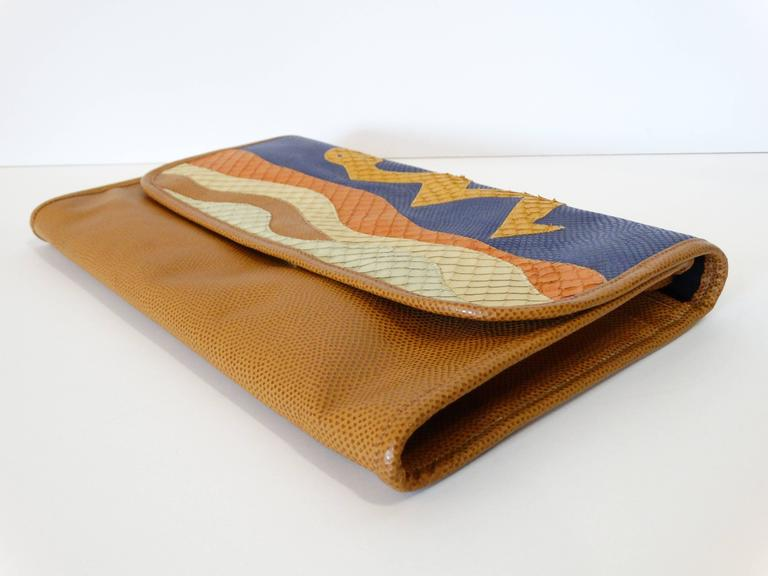 1980s CARLOS FALCHI Leather Snake Clutch  For Sale 1