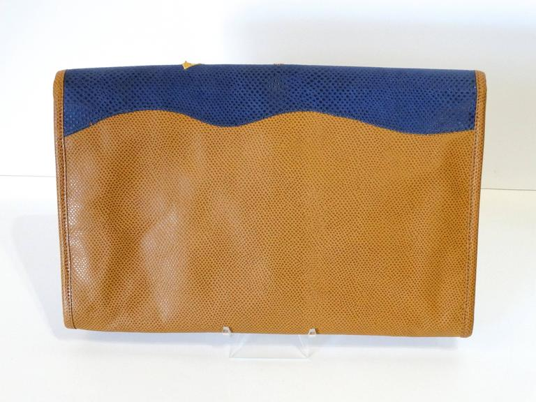 Women's or Men's 1980s CARLOS FALCHI Leather Snake Clutch  For Sale