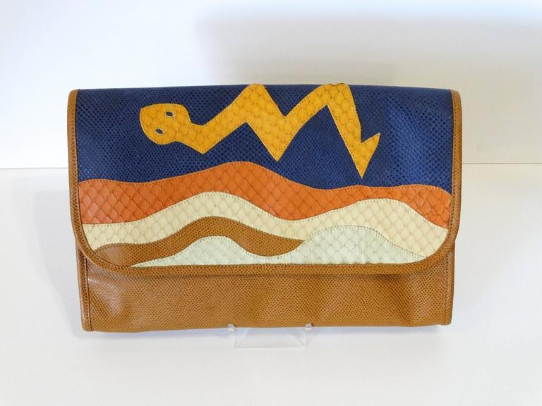 1980s CARLOS FALCHI Leather Snake Clutch  For Sale 2