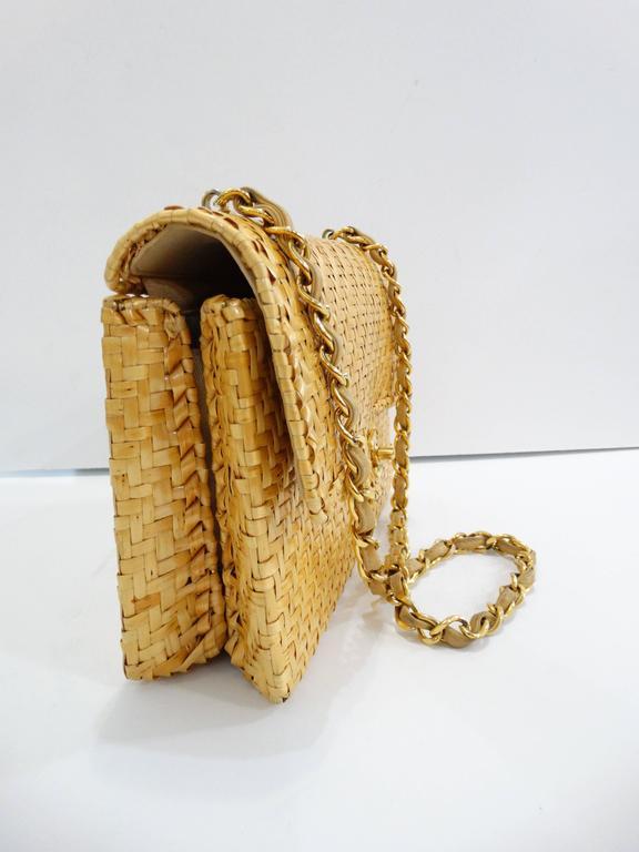 Rare Chanel Wicker Rattan Classic Flap Shoulder Bag At 1stdibs