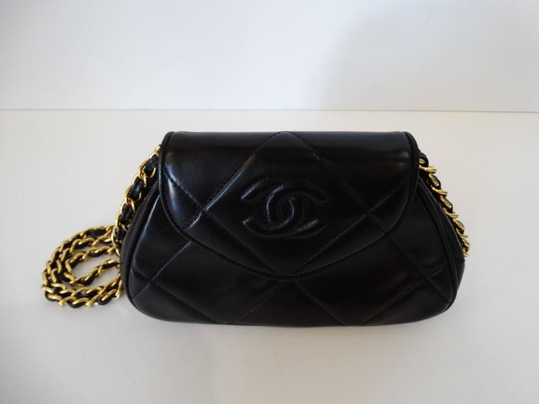 Rare 1990s Chanel Black Lambskin Quilted Mini Bag 5