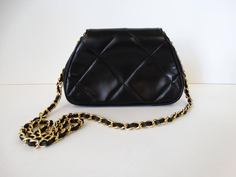 Rare 1990s Chanel Black Lambskin Quilted Mini Bag 7