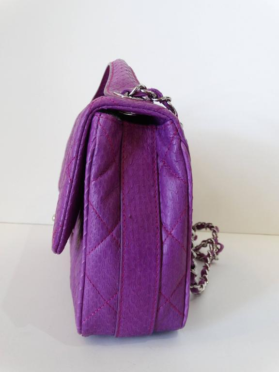 2015 Chanel Purple Elaphe Watersnake Flap Bag In New never worn Condition For Sale In Scottsdale, AZ