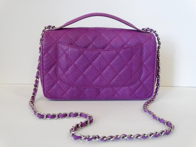 2015 Chanel Purple Elaphe Watersnake Flap Bag For Sale 1