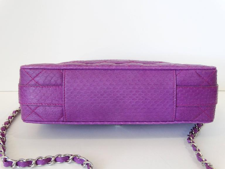 2015 Chanel Purple Elaphe Watersnake Flap Bag For Sale 2