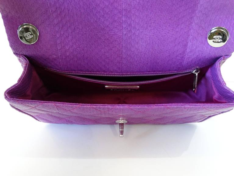 2015 Chanel Purple Elaphe Watersnake Flap Bag For Sale 3