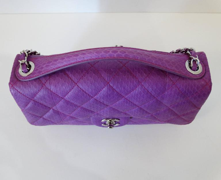 2015 Chanel Purple Elaphe Watersnake Flap Bag For Sale 4