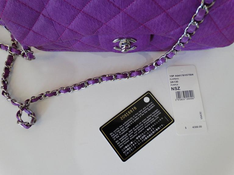 2015 Chanel Purple Elaphe Watersnake Flap Bag For Sale 5