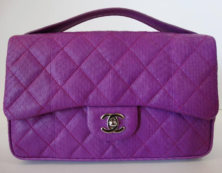 2015 Chanel Purple Elaphe Watersnake Flap Bag For Sale 6
