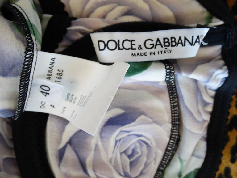 Dolce & Gabbana Purple Rose Print Dress 4