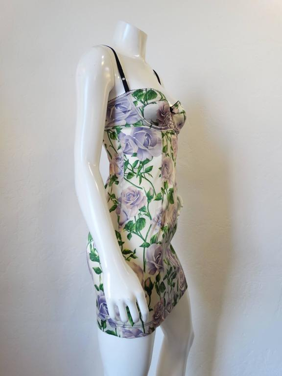 Dolce & Gabbana Purple Rose Print Dress 3