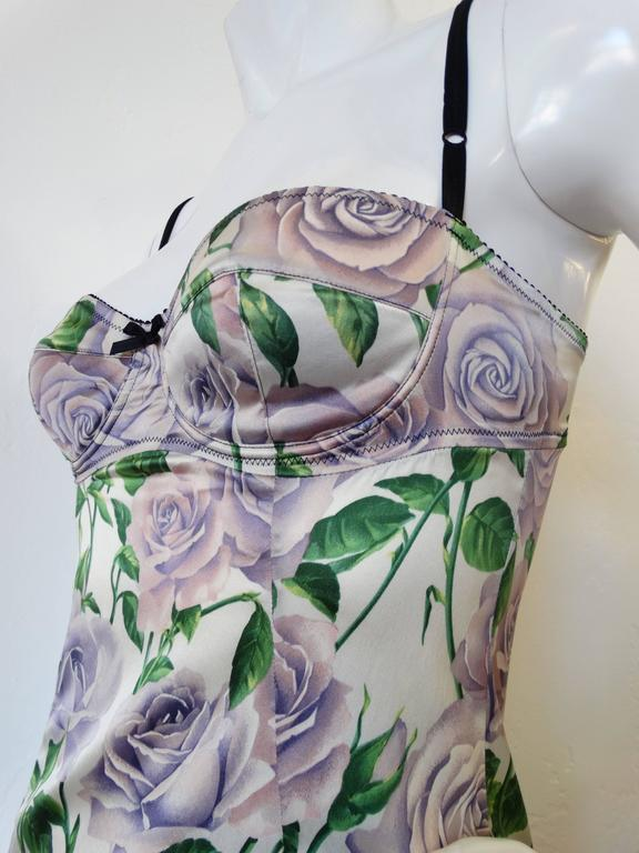 Dolce & Gabbana Purple Rose Print Dress 8