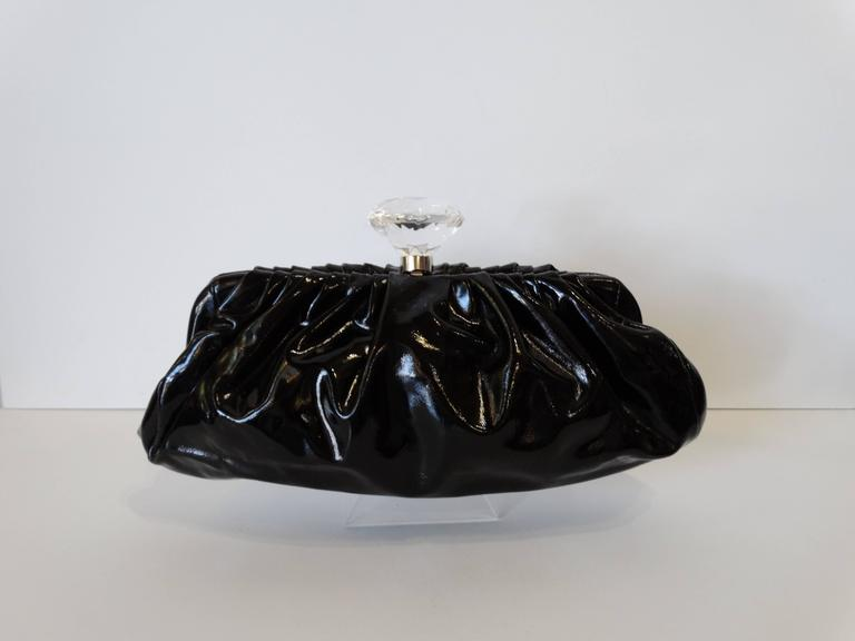 2000s Chanel Diamond Patent Leather Clutch For Sale 1