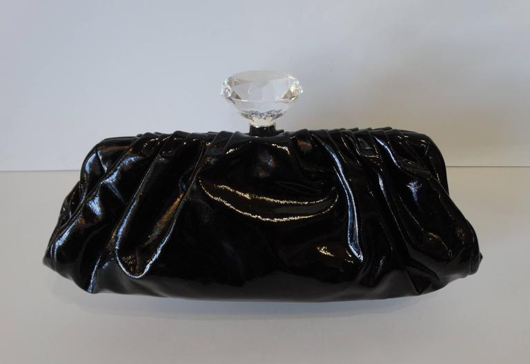 2000s Chanel Diamond Patent Leather Clutch For Sale 2
