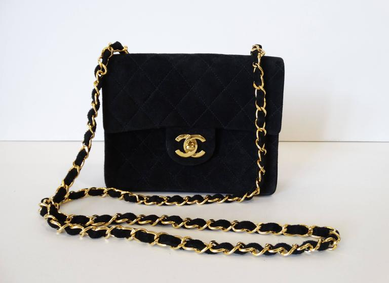 1990s Chanel Suede Quilted Mini Bag 3