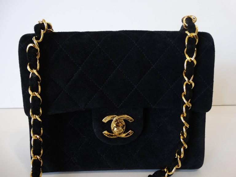 1990s Chanel Suede Quilted Mini Bag 4
