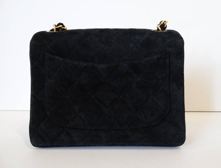 1990s Chanel Suede Quilted Mini Bag 5