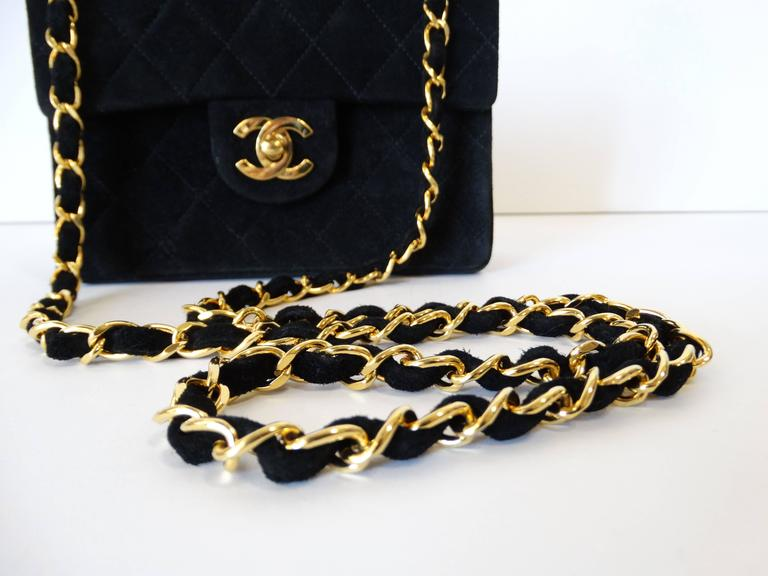 1990s Chanel Suede Quilted Mini Bag 9
