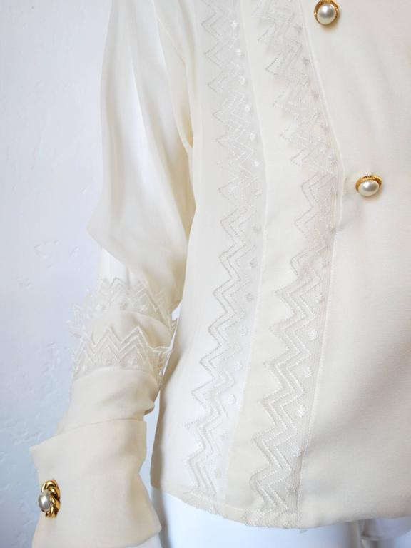 1980s Chanel Double Breasted Blouse with Pearl Chanel Buttons  3